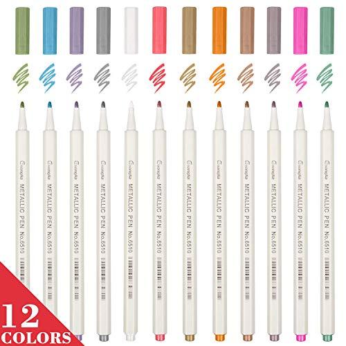 Eyinger metallic markeerstiften, glazen pennen, set van 12 verschillende kleuren verf pen voor kaart maken/doe-het-zelf fotoalbum tekenen/verjaardagswenscadeau/Rock Art Schilderen-penseel tip
