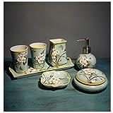 Dispensador de Jabón Cuarto de baño de cerámica china accesorios conjunto Ware Conjunto de 7 parejas de baño cepillo de...