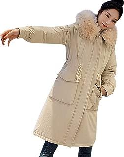 PAQOZ Womens Coat, Fashion Wool Zipper Pocket Hoodie Drawstring Long Jackets Outwear Coat
