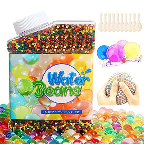 CESHMD Perlas de Agua 50,000 Piezas Cuentas de Suelo de Cristal Cuentas de Suelo de Gel Cuentas de Barro de Suelo Coloridas Bolas de Agua de Cristal para Plantas de Florero, Decoración Hogareña