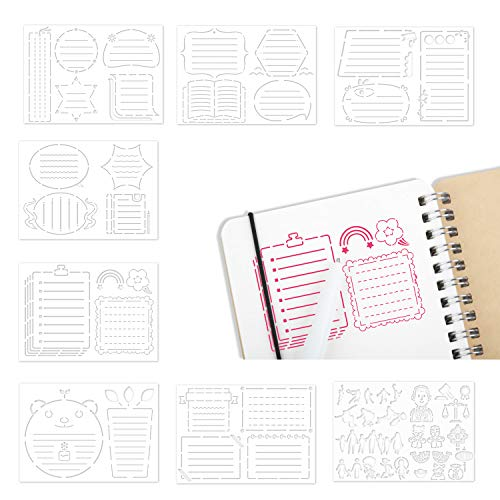8 Pieces Bullet Journaling Stencil, Journal Stencils, Stencils for Dot Journal Notebook, Save Time on Full-Page Layouts, DIY Planner Templates for Productivity (11.7 x 9 inch)