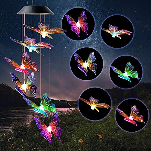 JOBOSI Butterfly Wind Chimes, Solar Wind Chimes, Wind Chimes Outdoor, Patio Decorations Outdoor Butterfly Garden Decor Garden Chimes