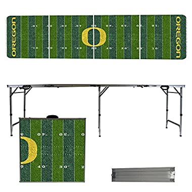 Oregon Ducks 8 Foot Portable Folding Tailgate Table Football Field Version