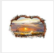 Pegatinas de pared dormitorio con agujero paisaje pegatinas de pared océano playa decoración pintura hogar fondo pared pap...