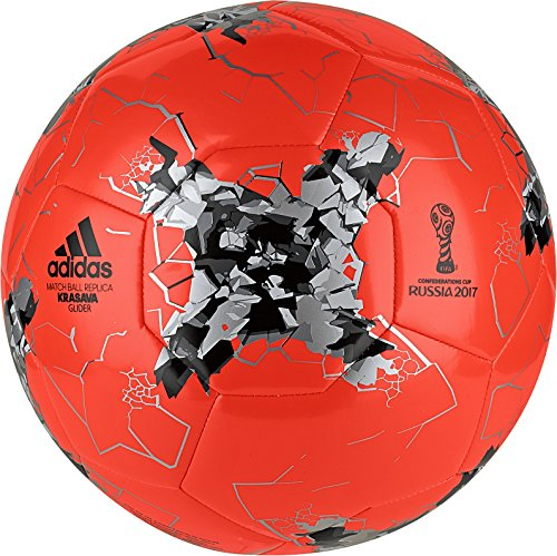 adidas Performance Confederations Cup Glider Soccer Ball, Solar Red/Silver Metallic/Black, Size 5