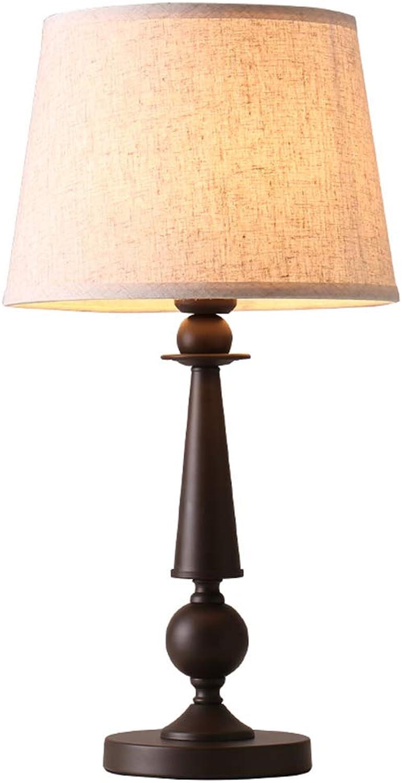 NACHTTISCHLAMPEN lixin Eisen Tischlampe Schlafzimmer Schlafsaal Kreative Tischlampe (Farbe   braun, gre   58  30cm)