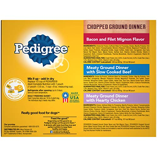 PEDIGREE Adult Wet Dog Food Chopped Ground Dinner Variety Pack, (18) 3.5 oz. Pouches
