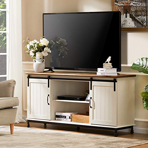 WAMPAT Farmhouse TV Stand for TVs Up to 65  with Furniture Safety Straps, Sliding Barn Door Entertainment Center with Storage& Adjustable Shelves& Hard Metal Legs, 58 inch, Rustic White Oak