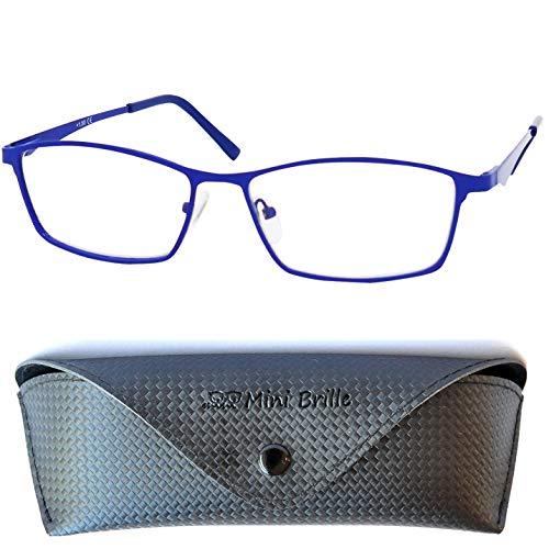 Elegante Blaulichtfilter Lesebrille mit rechteckigen Gläsern, GRATIS Brillenetui, Edelstahl Brillengestell (Blau), Anti Blaulicht Brille Herren und Damen +1.5 Dioptrien