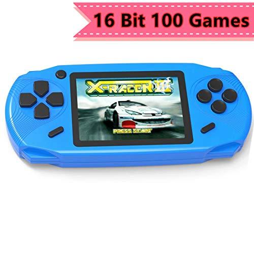 """ZHISHAN 16 Bit Handheld Spielkonsole Tragbare Spiele Konsolen inkl.100 Klassische Vintage Video Spielen 3.0 \""""LCD HD Bildschirm Arcade Erholung System Geburtstagsgeschenk für Kinder (10X Blau)"""