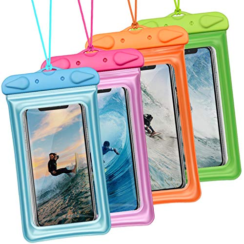 Waterproof Phone Pouch, iSPECLE Universal 4 Pack Floating Waterproof Case Underwater IPX8 Transparent Cell Phone Dry Bag for iPhone Xs Max XR X 8 7 6 Plus Samsung Galaxy up to 6.5'