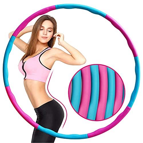 Hula Hoop, Hoola Hoops Reifen zur Fitness Gewichtsreduktion für Erwachsene und Kinder,Abnehmbarer Einstellbarer Tragbarer Fitnesskreis Hoop Reifen für Fitness/Training/Bauchmuskelkonturen(pink-blue)