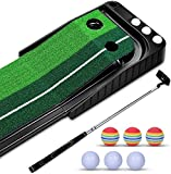 YINGJEE Golf Putting Green Mat Indoor and Outdoor, Golf Putting Trainer with Auto Ball Return System, Golf Putting Mat with 6 Training Balls and 1 Putter, for Gifts, Game, Home, Backyard, Office