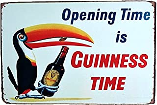 UNiQ Designs Opening Time is Guinness Time Vintage Metal Beer Tin Signs - Heineken Compliment Bar Signs Vintage Beer Wall decor Alcohol Signs -Funny Signs for Bar Beer Decorations Bar Sign Decor 8x12