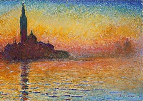 Wieco Art – Dusk in Venecia por Claude Monet Pintura al óleo Reproducción moderna Giclée Lienzo impreso Paisaje Cuadros de Arte Arte de la Pared Arte para Decoración de la Oficina del Hogar