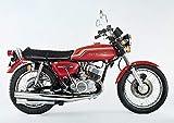 絵画風 壁紙ポスター (はがせるシール式) カワサキ 500-SS H1 マッハⅢ 赤 1972年 伝説のバイク キャラクロ K5SS-017A1 (A1版 830mm×585mm) 建築用壁紙+耐候性塗料
