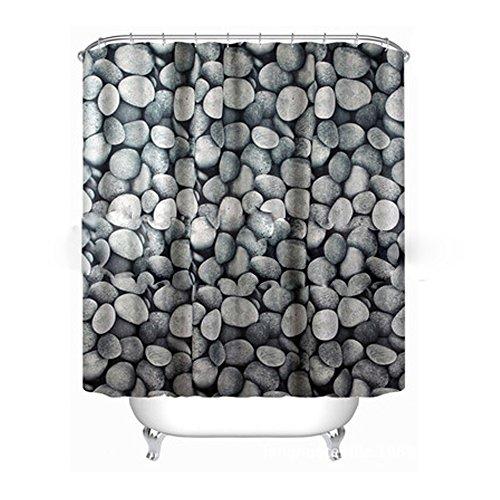 Badass Sharks Pebbles Steine Textil Extra Lang Duschvorhang mit gewichtetem Saum 180cm (W) X 180cm (L)