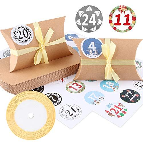 Boite Cadeau, Taie d'Oreiller Boîte Kraft Candy Box, 24 Pièces Rétro Candy Box Boîte de Cadeau de Fête d'Anniversaire de Mariage, Utilisé pour les Bonbons, Bijoux, Noël, Fêtes de Mariage (Marron)