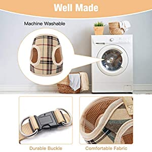 Soft Mesh Small Dog Harness with Leash - Basic Plaid Padded Chest Vest for Kitties, Puppy, Small Pets