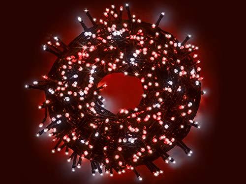 Serie luci a Led Bicolore Bianco Ghiaccio e Rosso su cavo verde per Albero di Natale uso esterno ed interno con 8 differenti giochi di luce (500 Led - 25 Metri)