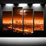 iKNOW FOTO 4pcs Canvas Prints Full Moon USA Los Angeles Skyline Wall Art Night Cityscapes New York Painting Printed On Canvas Pictures Giclee Artwork for Modern Home Office Decorations