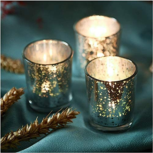 Silver Votive Candle Holder Set of 48 Wedding Centerpieces for Table Mercury Glass Tealight product image
