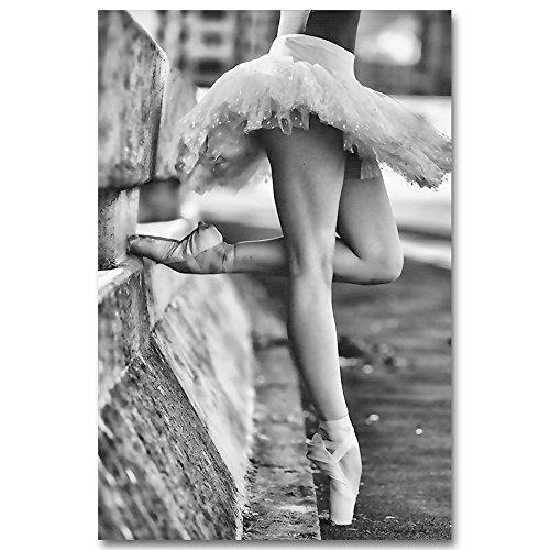 Haihuic Pintura al óleo del Arte de la Pared de la Lona, Imagen de Bailarina de Ballet grabada en Lienzo, Obra de Arte Moderna sin Marco para la decoración del hogar (sin Marco) 30 * 40cm