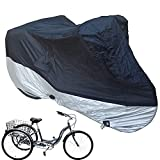 Bike Cover, Waterproof Outdoor Storage Bicycle Cover Adult Tricycle Cover Motorcycle Covers, Heavy Duty Ripstop Material, Rain Sun UV Dust Wind Proof with Lock Hole & Storage Bag (Black and Silver)