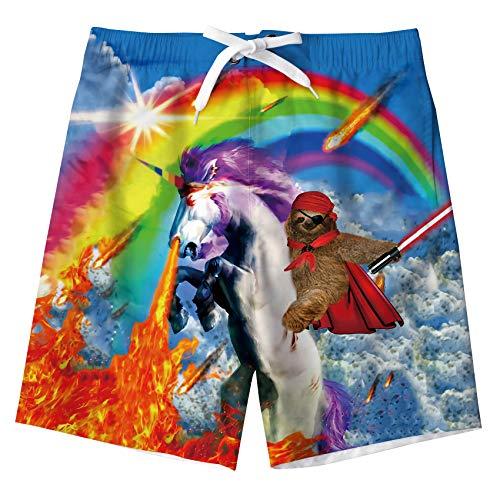 Fanient Jungen Strand Shorts Einhorn Badehose Schnelltrocknend Badeanzüge für Board Bade Casual Surfing Hose mit Tasche