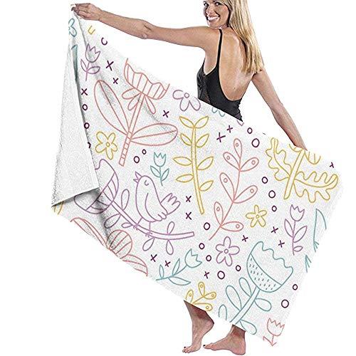 Exking-handdoek met bloemen, zoals paars, vogels en gekleurde tulpen, microvezel, badhanddoek, surf, surf, zwemmen, superzacht, super absorberend