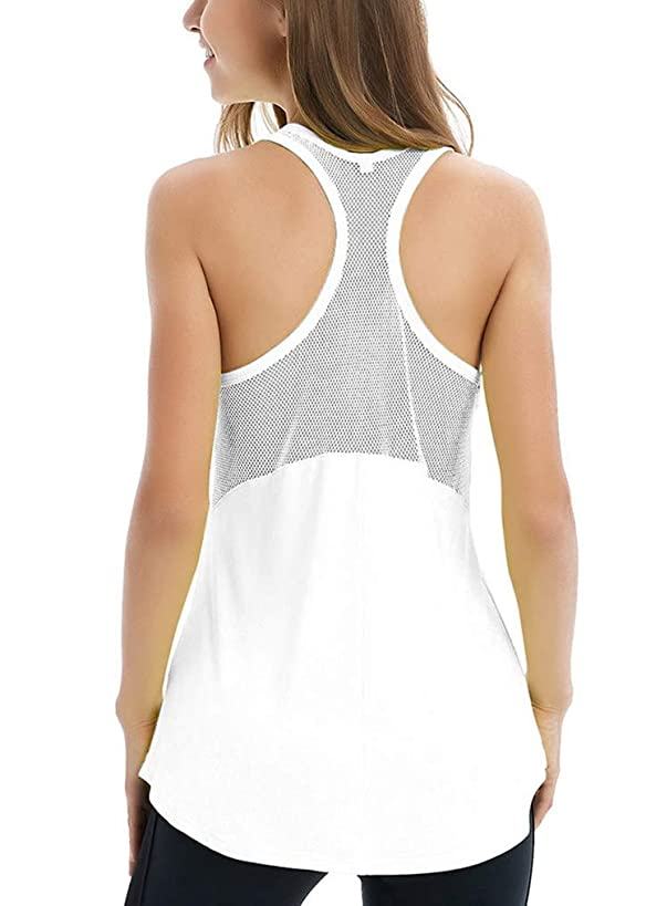 Fihapyli Women's Sleeveless Yoga Shirts Workout Tank Tops Actives Breathable Mesh Backless Tank Yoga Tops