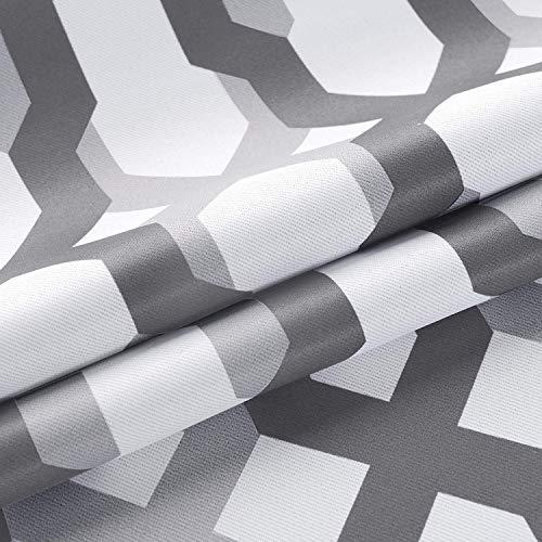 DriftAway Mason Geometric Trellis Pattern Window Curtain Valance Rod Pocket 52 Inch by 18 Inch Plus 2 Inch Header Gray