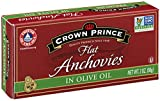 Crown Prince Flat Anchovies in Olive Oil, 2-Ounce Cans (Pack of 12)