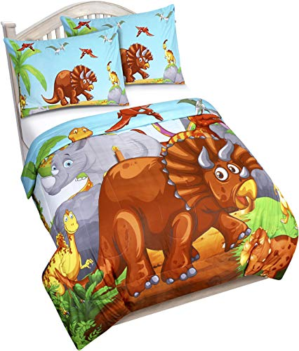 Utopia Bedding All Season Dinosaur Comforter Set with 2 Pillow Cases - 3 Piece Brushed Microfiber Kids Bedding Set for Boys/Girls - Soft and Comfortable - Machine Washable (Twin/Twin XL)