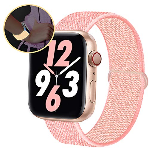 Qunbor Cinturino Compatibile con Apple Watch 38mm 40mm 42mm 44mm per iWatch Series 6 5 4 SE 3 2 1 Edition, Sport Nylon Intrecciato Loop Tessuto Ricambio Flessibile Bagliore di Notte, RiflettenteRose