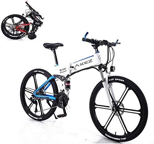 Bicicletas Eléctricas, Eléctrica de bicicletas de montaña, 26 pulgadas bicicleta eléctrica, equipada con un desmontable 350W 36V 8A for adultos de litio-ion, 27 palancas de cambio (Color: Azul) ,Bicic