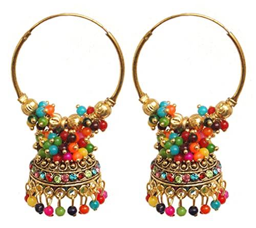 Pahal Ethnic Bollywood Jaipur Multicolor Cluster Pearl Pintado Indio Big Gold Jhumka Pendientes de aro Jhumki Joyería nupcial para mujer