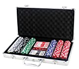 Set de Poker / Póquer, Texas Holdem, Blackjack Completo con Maletín de Aluminio, Juego de Fichas Plástico, Mini Casino Portátil, Accesorios de Baccarat, Juegos de Mesa y Entretenimiento (300 FICHAS)