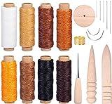 LIHAO 20 piezas cuero costura hilo de cera hilo de coser herramienta Polster agujas Bordes pulidor piel de trabajo Set para cuero artesanía DIY (varias caras)