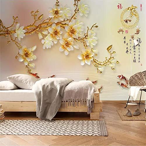 Benutzerdefinierte Tapete 3d Wandfarbe geschnitzt Magnolie Wohnzimmer TV Hintergrund Wandkunst Glas Wandbild Wandbild Tapete Tapete