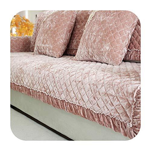 KASHINO Cojín de sofá de felpa antideslizante para verano europeo, cojín universal para cuatro estaciones, funda completa de sofá B-90x180 cm