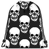 Medsforu Kordelzug Rucksack Sport Taschen Cinch Tragetaschen Black Skulls Print Schädel Swatch Für...