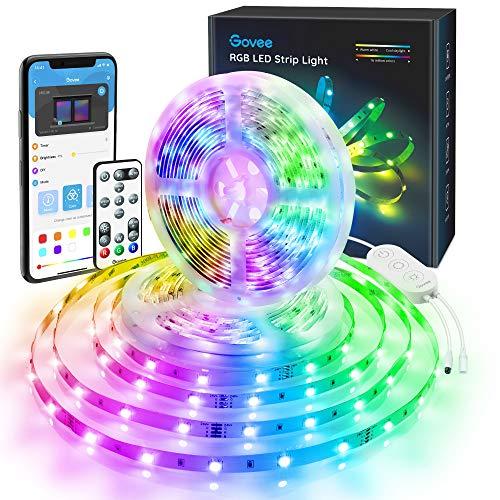 Govee 10M RGB LED Streifen Lichtband mit 3 in 1 App, Fernbedienung und Steuerbox, Selbstklebend LED Strip Beleuchtung Full Kit mit DIY-Timer-Einstellung für Zuhause, Schlafzimmer, TV, Schrankdeko