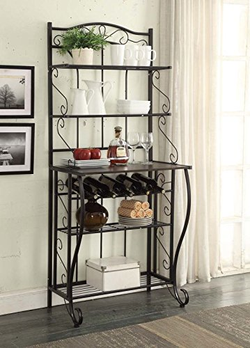 5-Tier Black Metal Cappuccino Finish Shelf Kitchen Bakers Rack Scroll Design with 5 Bottles Wine Storage