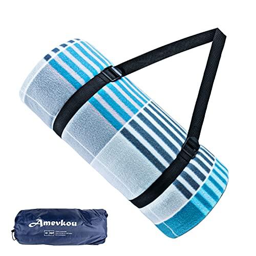 Amevkou, coperta da picnic, impermeabile, 200 x 200 cm, coperta da spiaggia extra large con impermeabile, pieghevole, XXL, lavabile, con borsa e tracolla per parco, campeggio (griglia blu e bianca)