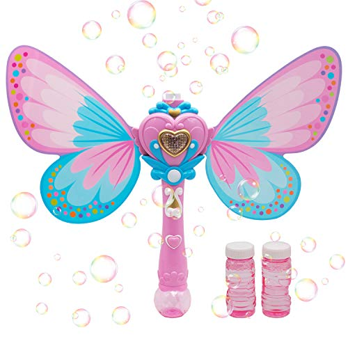 Magic Bubble Wand Bubble Blower – Pink Crefun SB9321 Musical Light Up Bubble Blaster Safe Durable Simple Handheld Bubble Machine Bubble Toys for Girls Party Favors Birthday Including 2 Bubble Solution