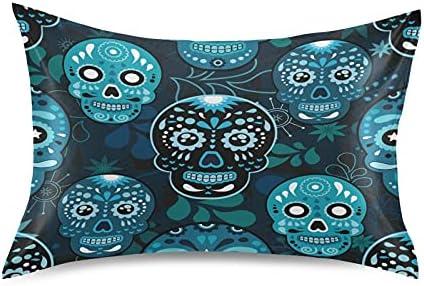 Meetutrip Blue Max 45% OFF Mexico Vintage Sugar Satin Skull Max 89% OFF Cover Pillowcase