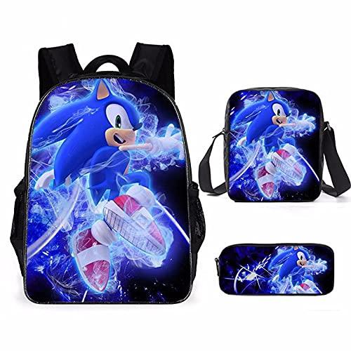 Sonic The Hedgehog - Juego de 3 mochilas infantiles de dibujos animados para niños y niñas, mochilas escolares y artículos escolares, Sonic6, 16',