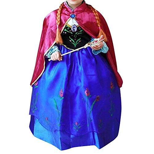 Cacilie® Prinzessin Kostüm Kinder Glanz Kleid Mädchen Weihnachten Verkleidung Karneval Party Halloween Fest (130(Körpergröße 130cm), Anna #07)