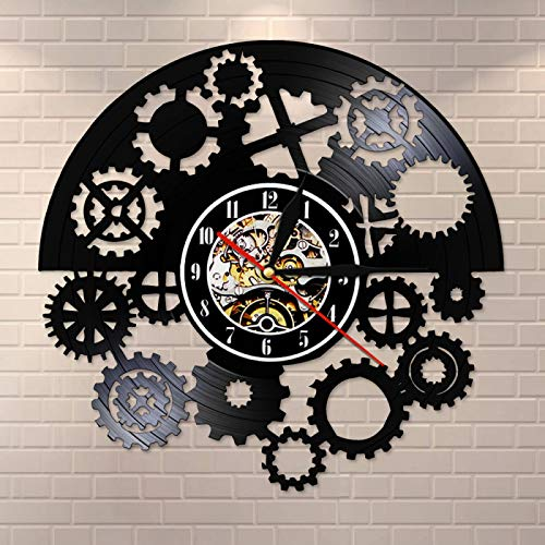 YINU Reloj de Pared con Registro de Vinilo gótico Steampunk Gears Reloj de Pared LP con Registro de Vinilo Negro Reloj de Pared Vintage Arte Tribal máquina Reloj cronometrador